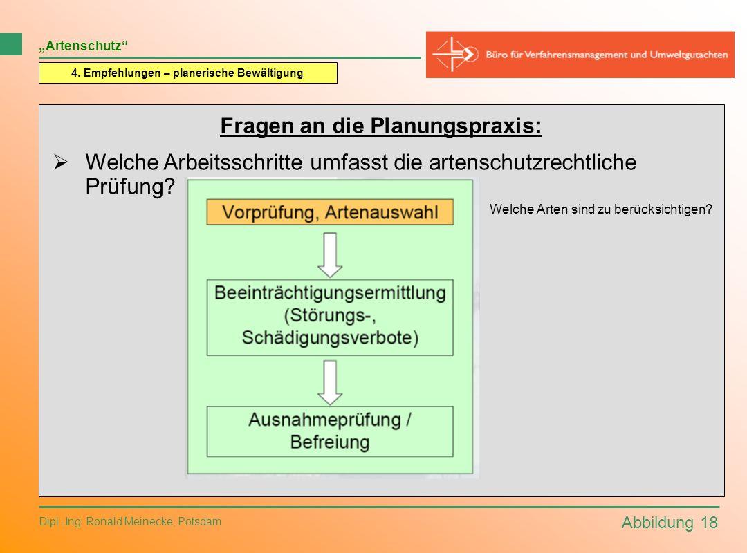 Abbildung 18 Dipl.-Ing. Ronald Meinecke, Potsdam Artenschutz 4. Empfehlungen – planerische Bewältigung Fragen an die Planungspraxis: Welche Arbeitssch