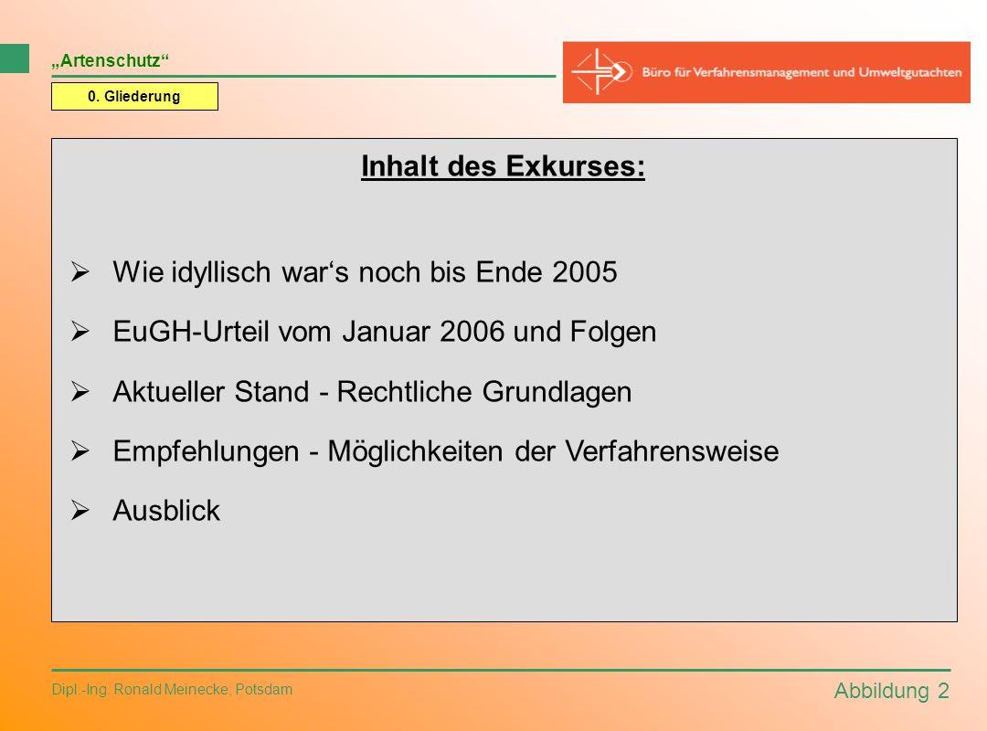 Abbildung 2 Dipl.-Ing. Ronald Meinecke, Potsdam 0. Gliederung Inhalt des Exkurses: Wie idyllisch wars noch bis Ende 2005 EuGH-Urteil vom Januar 2006 u