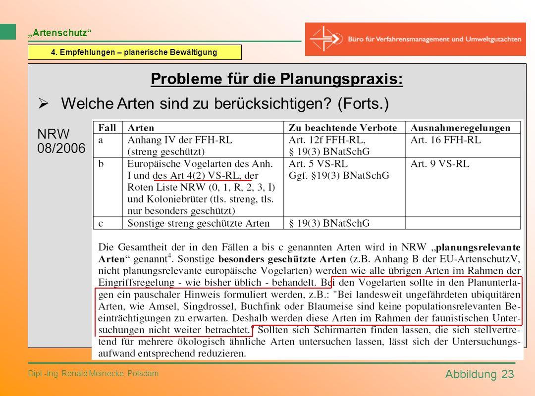 Abbildung 23 Dipl.-Ing. Ronald Meinecke, Potsdam Artenschutz 4. Empfehlungen – planerische Bewältigung Probleme für die Planungspraxis: Welche Arten s