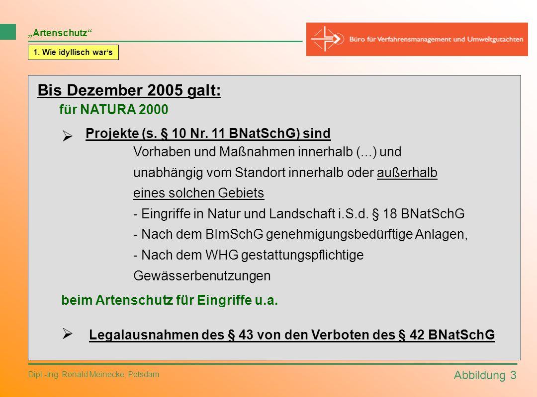 Abbildung 3 Dipl.-Ing. Ronald Meinecke, Potsdam 1. Wie idyllisch wars Bis Dezember 2005 galt: für NATURA 2000 beim Artenschutz für Eingriffe u.a. Arte