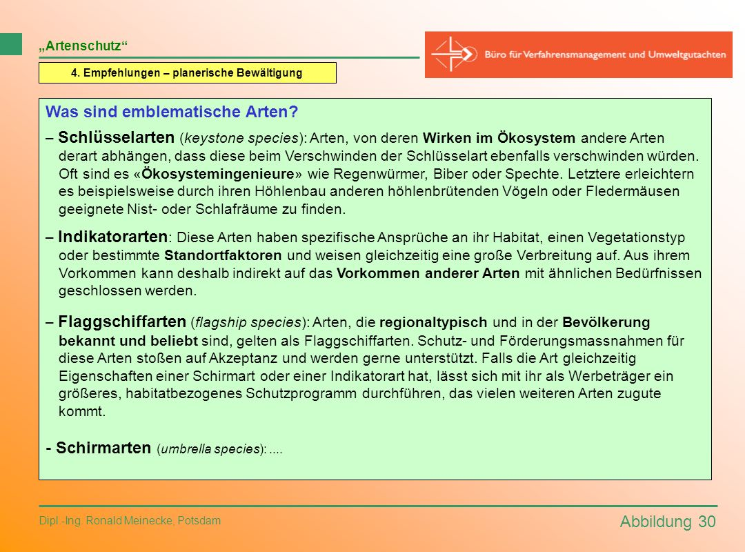 Abbildung 30 Dipl.-Ing. Ronald Meinecke, Potsdam Artenschutz 4. Empfehlungen – planerische Bewältigung Was sind emblematische Arten? – Schlüsselarten