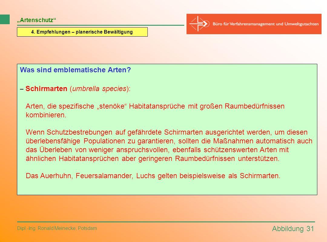 Abbildung 31 Dipl.-Ing. Ronald Meinecke, Potsdam Artenschutz 4. Empfehlungen – planerische Bewältigung Was sind emblematische Arten? – Schirmarten (um