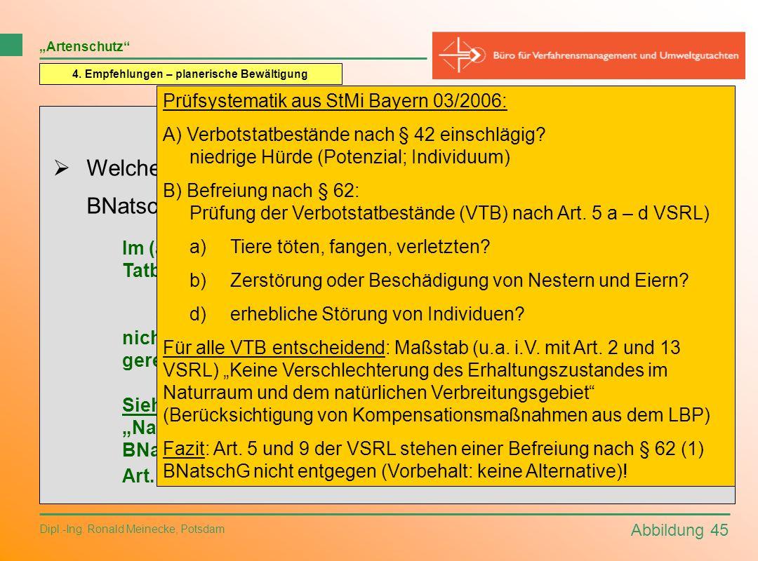 Abbildung 45 Dipl.-Ing. Ronald Meinecke, Potsdam Artenschutz 4. Empfehlungen – planerische Bewältigung Fragen an die Planungspraxis: Welche naturschut