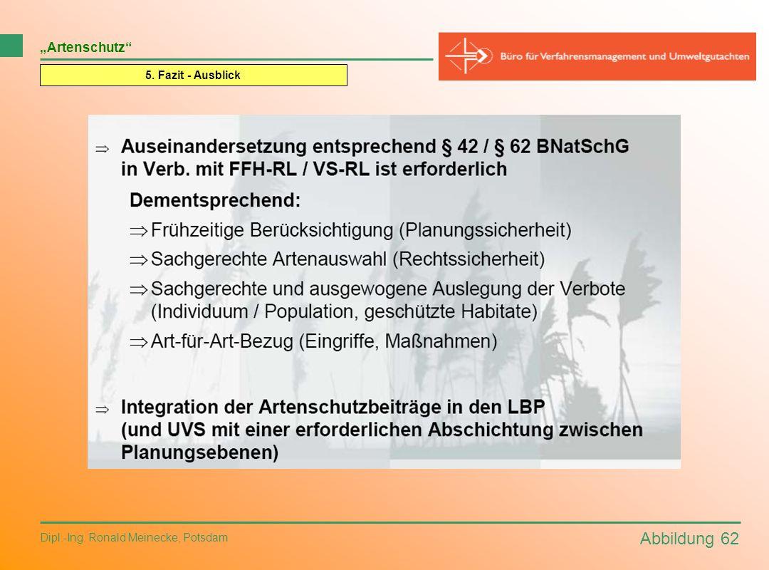 Abbildung 62 Dipl.-Ing. Ronald Meinecke, Potsdam Artenschutz 5. Fazit - Ausblick