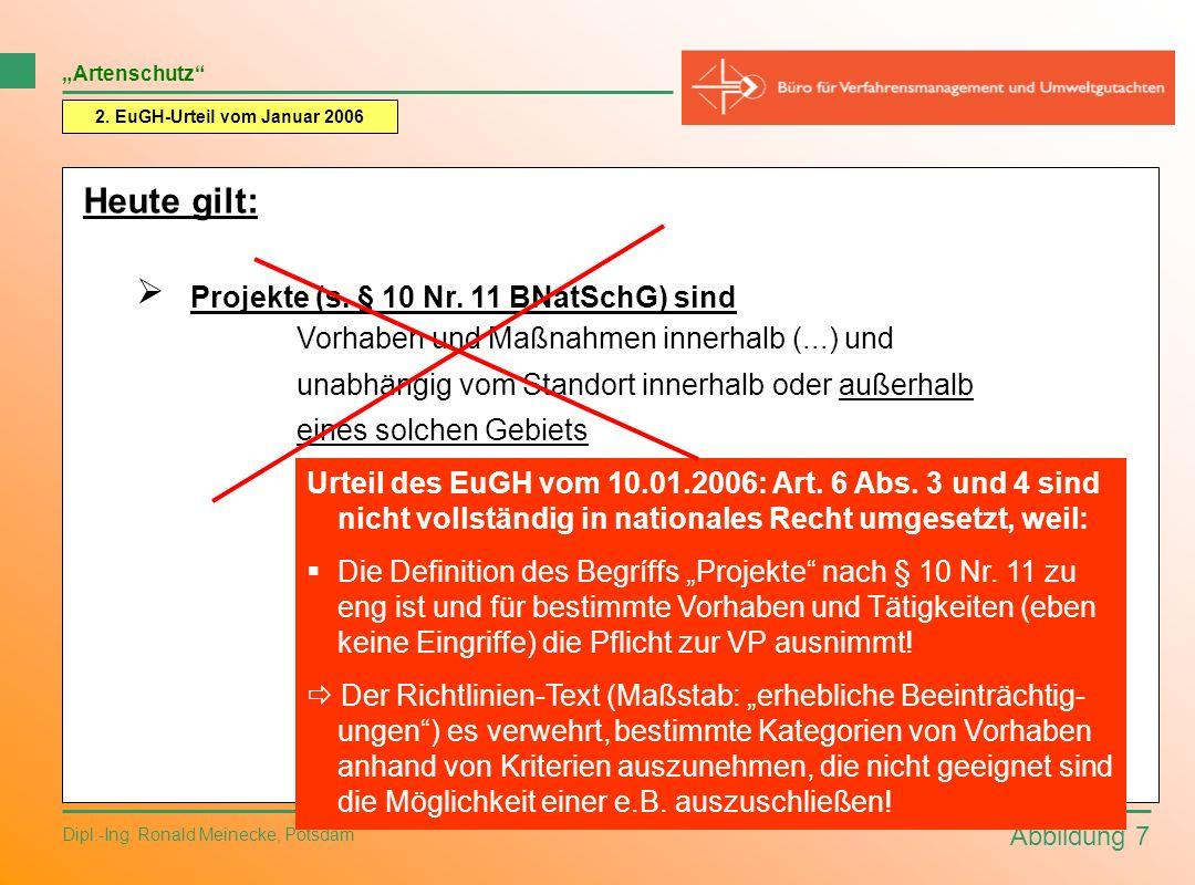Abbildung 7 Dipl.-Ing. Ronald Meinecke, Potsdam 2. EuGH-Urteil vom Januar 2006 Artenschutz Heute gilt: Projekte (s. § 10 Nr. 11 BNatSchG) sind Vorhabe