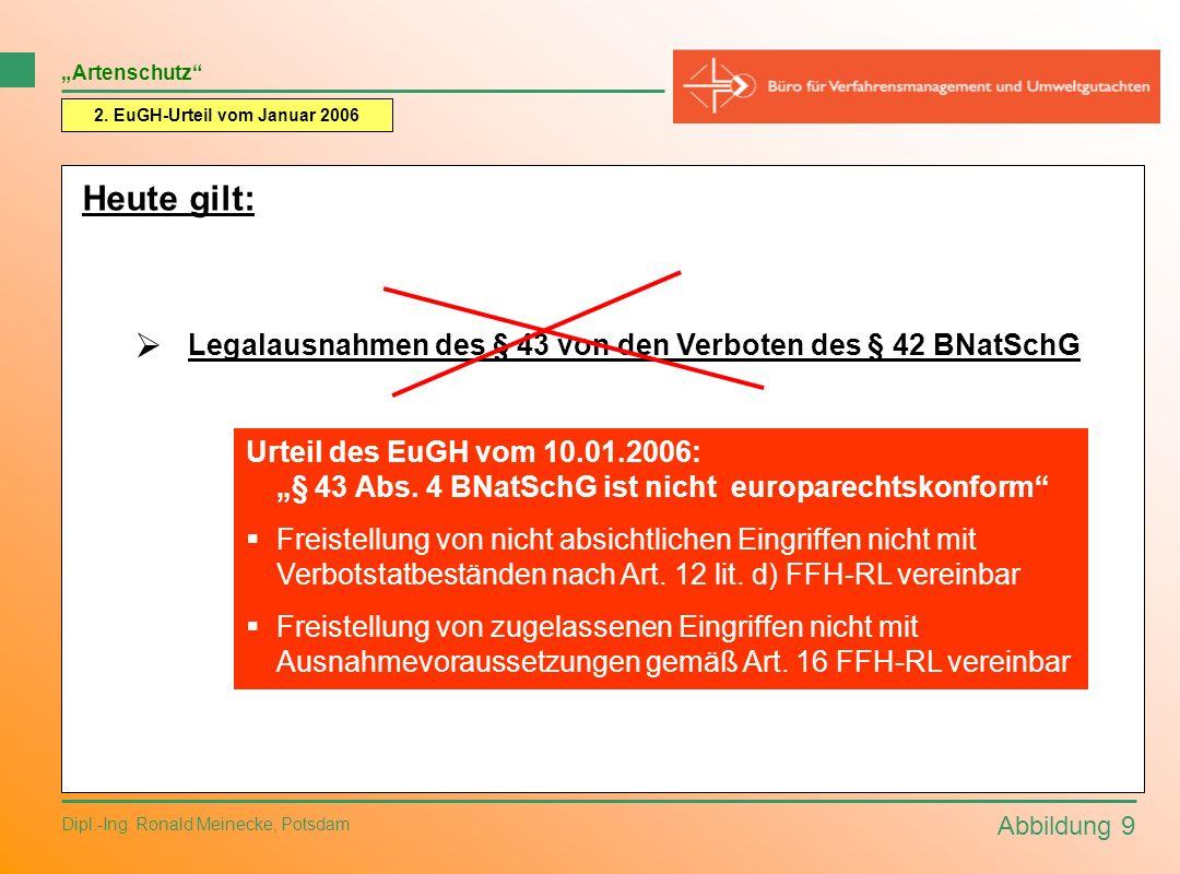Abbildung 9 Dipl.-Ing. Ronald Meinecke, Potsdam 2. EuGH-Urteil vom Januar 2006 Artenschutz Heute gilt: Legalausnahmen des § 43 von den Verboten des §
