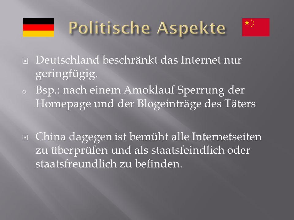 Deutschland beschränkt das Internet nur geringfügig.