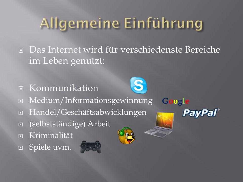 Das Internet wird für verschiedenste Bereiche im Leben genutzt: Kommunikation Medium/Informationsgewinnung Handel/Geschäftsabwicklungen (selbstständige) Arbeit Kriminalität Spiele uvm.