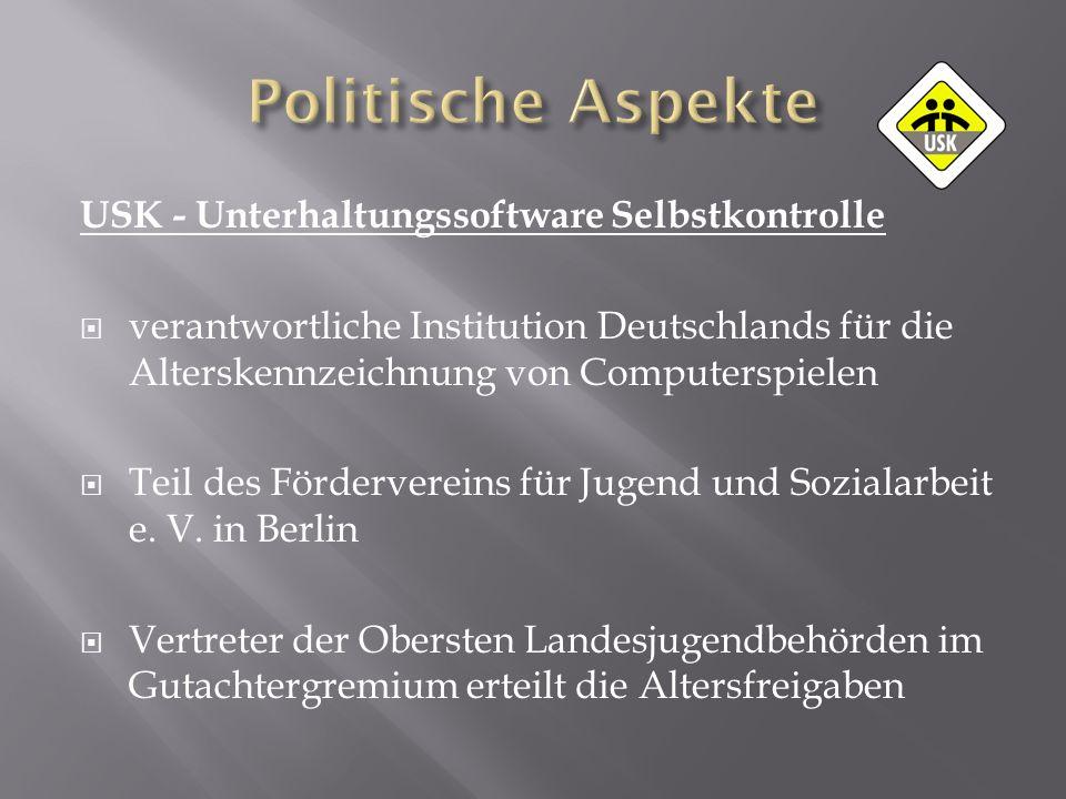 USK - Unterhaltungssoftware Selbstkontrolle verantwortliche Institution Deutschlands für die Alterskennzeichnung von Computerspielen Teil des Fördervereins für Jugend und Sozialarbeit e.