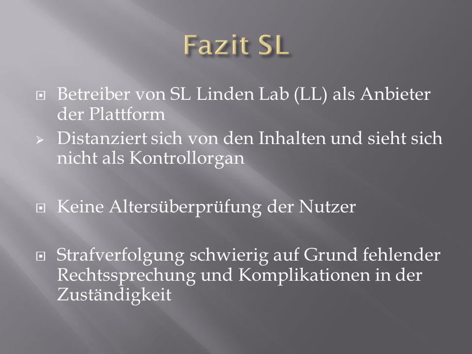 Betreiber von SL Linden Lab (LL) als Anbieter der Plattform Distanziert sich von den Inhalten und sieht sich nicht als Kontrollorgan Keine Altersüberprüfung der Nutzer Strafverfolgung schwierig auf Grund fehlender Rechtssprechung und Komplikationen in der Zuständigkeit