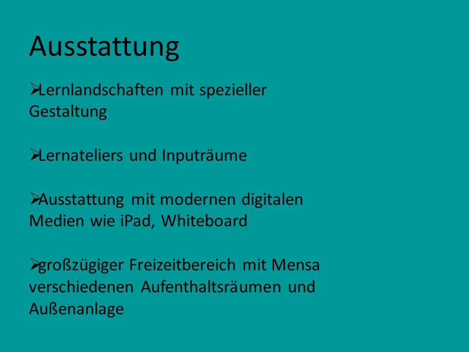 Ausstattung Lernlandschaften mit spezieller Gestaltung Lernateliers und Inputräume Ausstattung mit modernen digitalen Medien wie iPad, Whiteboard groß