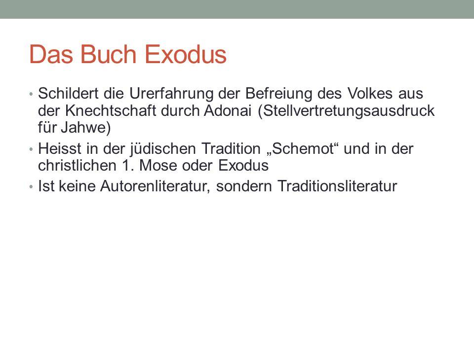 Das Buch Exodus Schildert die Urerfahrung der Befreiung des Volkes aus der Knechtschaft durch Adonai (Stellvertretungsausdruck für Jahwe) Heisst in de
