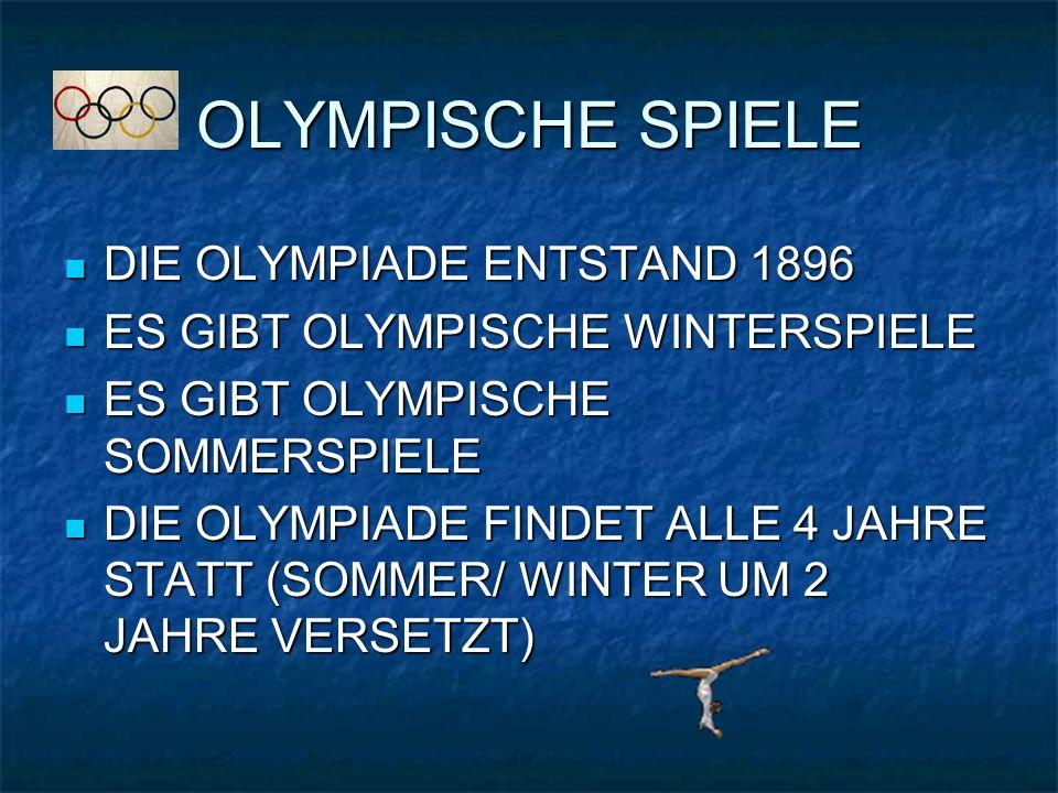 OLYMPISCHE SPIELE DIE OLYMPIADE ENTSTAND 1896 DIE OLYMPIADE ENTSTAND 1896 ES GIBT OLYMPISCHE WINTERSPIELE ES GIBT OLYMPISCHE WINTERSPIELE ES GIBT OLYMPISCHE SOMMERSPIELE ES GIBT OLYMPISCHE SOMMERSPIELE DIE OLYMPIADE FINDET ALLE 4 JAHRE STATT (SOMMER/ WINTER UM 2 JAHRE VERSETZT) DIE OLYMPIADE FINDET ALLE 4 JAHRE STATT (SOMMER/ WINTER UM 2 JAHRE VERSETZT)