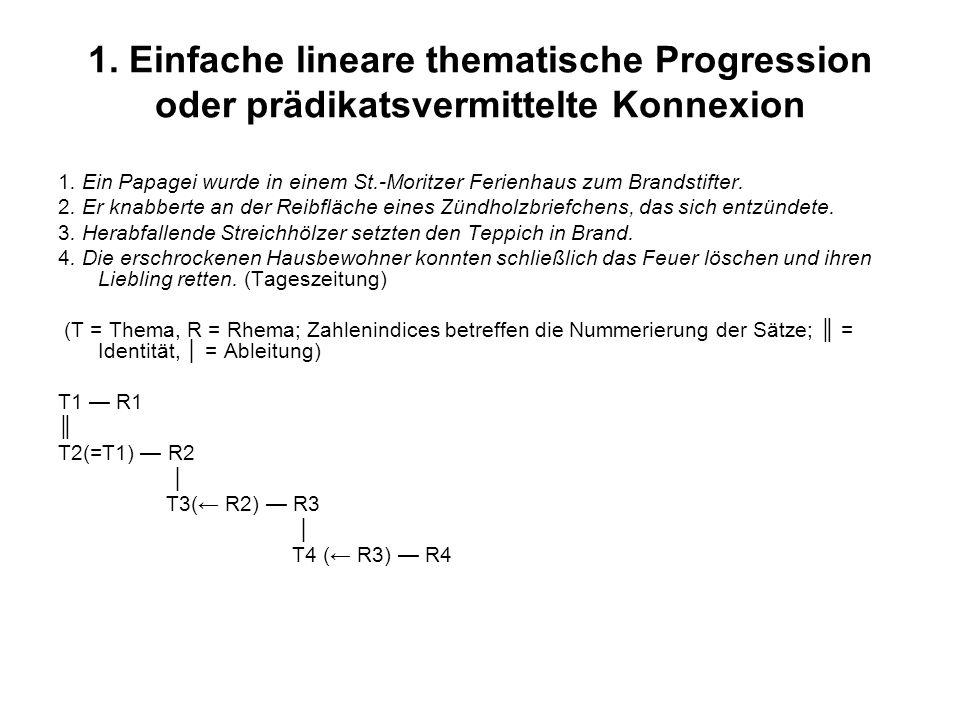 1.Einfache lineare thematische Progression oder prädikatsvermittelte Konnexion 1.