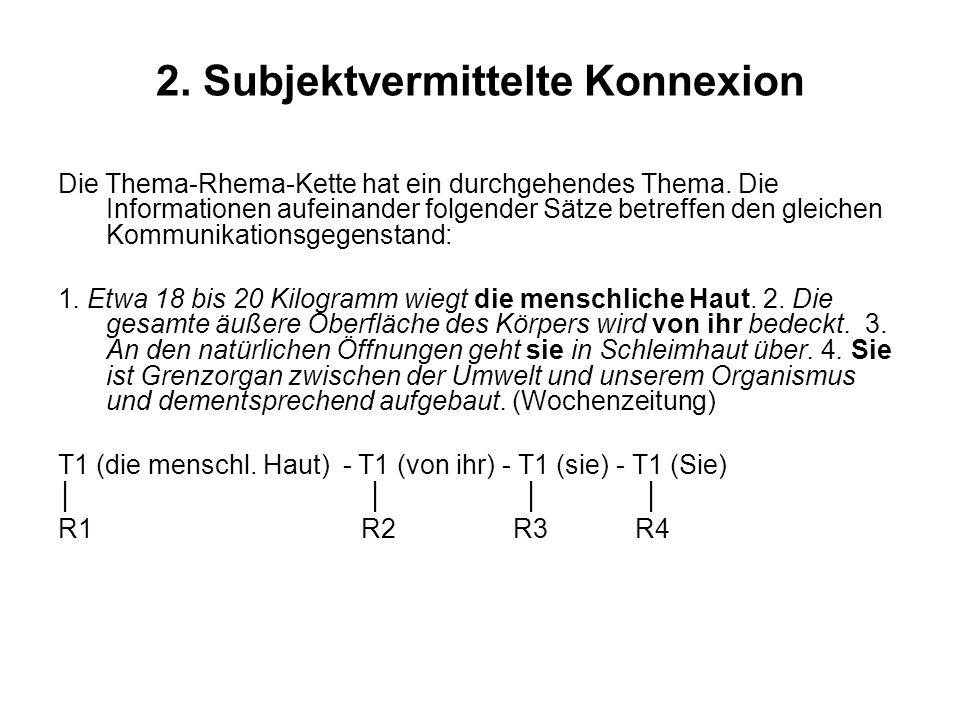 2.Subjektvermittelte Konnexion Die Thema-Rhema-Kette hat ein durchgehendes Thema.