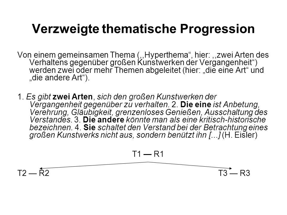 Verzweigte thematische Progression Von einem gemeinsamen Thema (,,Hyperthema, hier:,,zwei Arten des Verhaltens gegenüber großen Kunstwerken der Vergangenheit) werden zwei oder mehr Themen abgeleitet (hier: die eine Art und die andere Art).