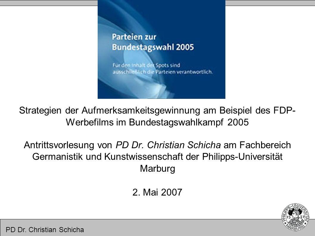 PD Dr. Christian Schicha Strategien der Aufmerksamkeitsgewinnung am Beispiel des FDP- Werbefilms im Bundestagswahlkampf 2005 Antrittsvorlesung von PD