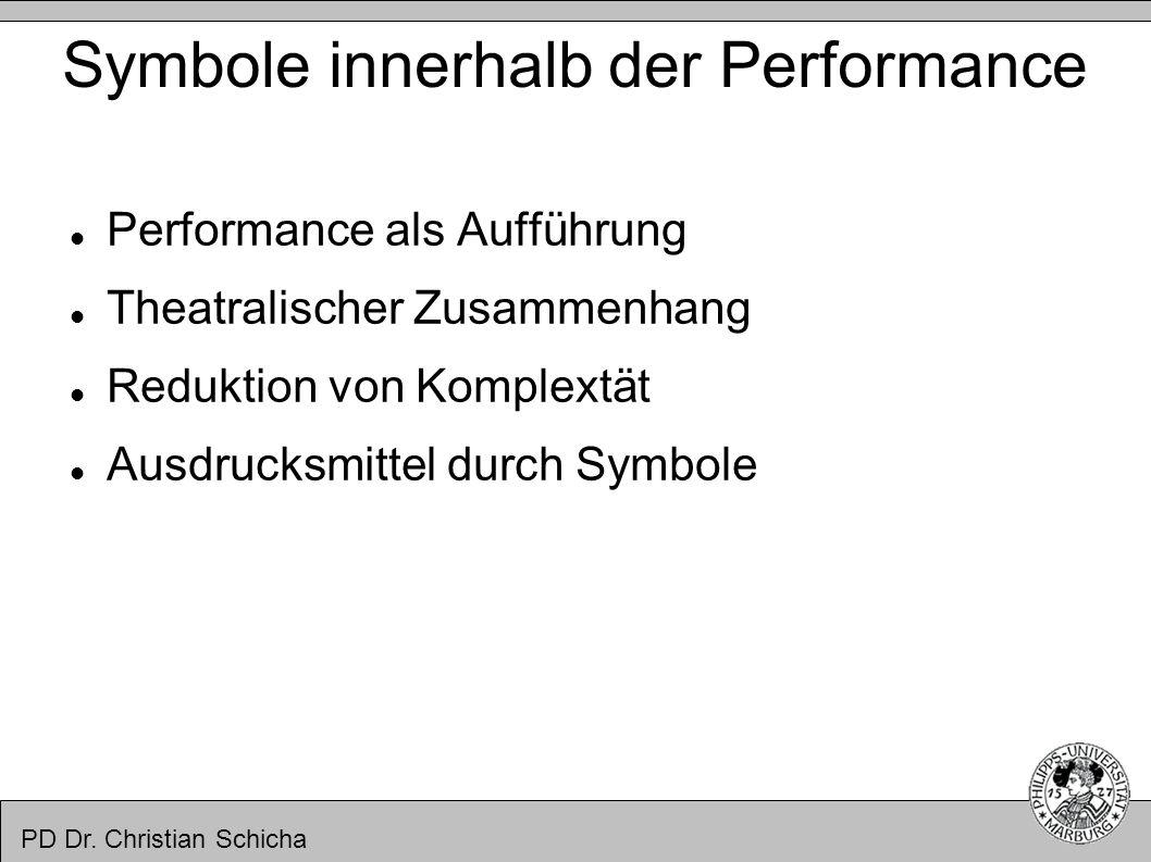 PD Dr. Christian Schicha Symbole innerhalb der Performance Performance als Aufführung Theatralischer Zusammenhang Reduktion von Komplextät Ausdrucksmi