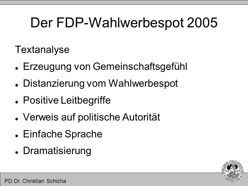 PD Dr. Christian Schicha Der FDP-Wahlwerbespot 2005 Textanalyse Erzeugung von Gemeinschaftsgefühl Distanzierung vom Wahlwerbespot Positive Leitbegriff