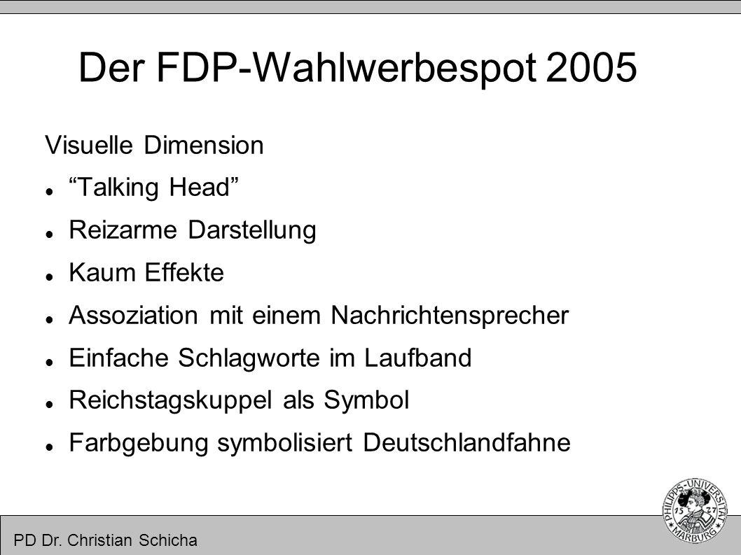 PD Dr. Christian Schicha Der FDP-Wahlwerbespot 2005 Visuelle Dimension Talking Head Reizarme Darstellung Kaum Effekte Assoziation mit einem Nachrichte