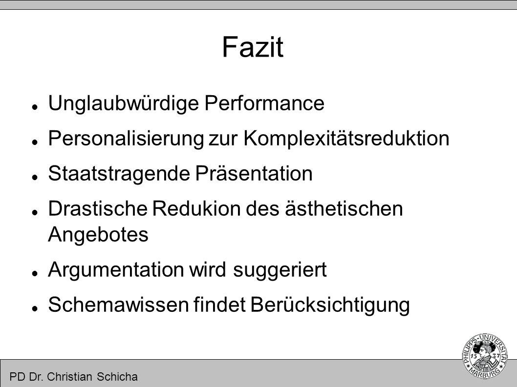 PD Dr. Christian Schicha Fazit Unglaubwürdige Performance Personalisierung zur Komplexitätsreduktion Staatstragende Präsentation Drastische Redukion d