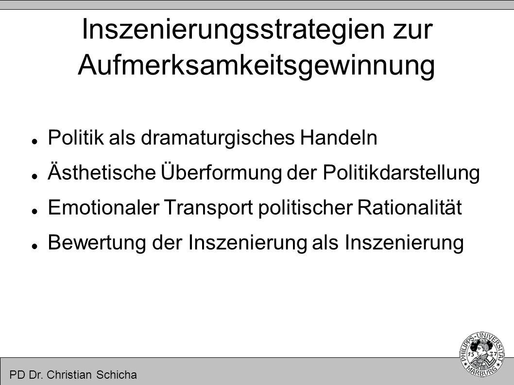 PD Dr. Christian Schicha Inszenierungsstrategien zur Aufmerksamkeitsgewinnung Politik als dramaturgisches Handeln Ästhetische Überformung der Politikd