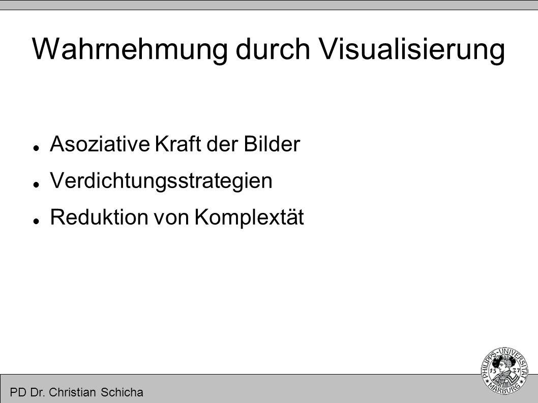 PD Dr. Christian Schicha Wahrnehmung durch Visualisierung Asoziative Kraft der Bilder Verdichtungsstrategien Reduktion von Komplextät