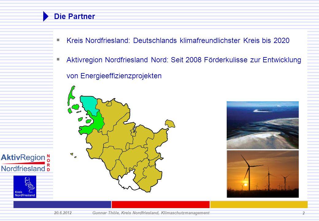 20.6.2012Gunnar Thöle, Kreis Nordfriesland, Klimaschutzmanagement 2 Die Partner Kreis Nordfriesland: Deutschlands klimafreundlichster Kreis bis 2020 A