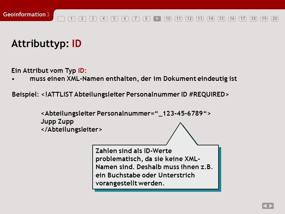 12347891011121314151617181920 Geoinformation3 56 Attributtyp: ID Ein Attribut vom Typ ID: muss einen XML-Namen enthalten, der im Dokument eindeutig is