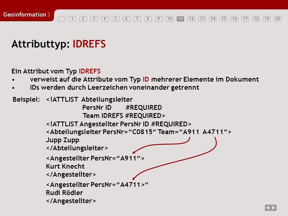 12347891011121314151617181920 Geoinformation3 5611 Attributtyp: IDREFS Ein Attribut vom Typ IDREFS verweist auf die Attribute vom Typ ID mehrerer Elem