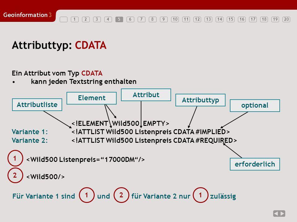 12347891011121314151617181920 Geoinformation3 565 Attributtyp: CDATA Ein Attribut vom Typ CDATA kann jeden Textstring enthalten Variante 1: Variante 2