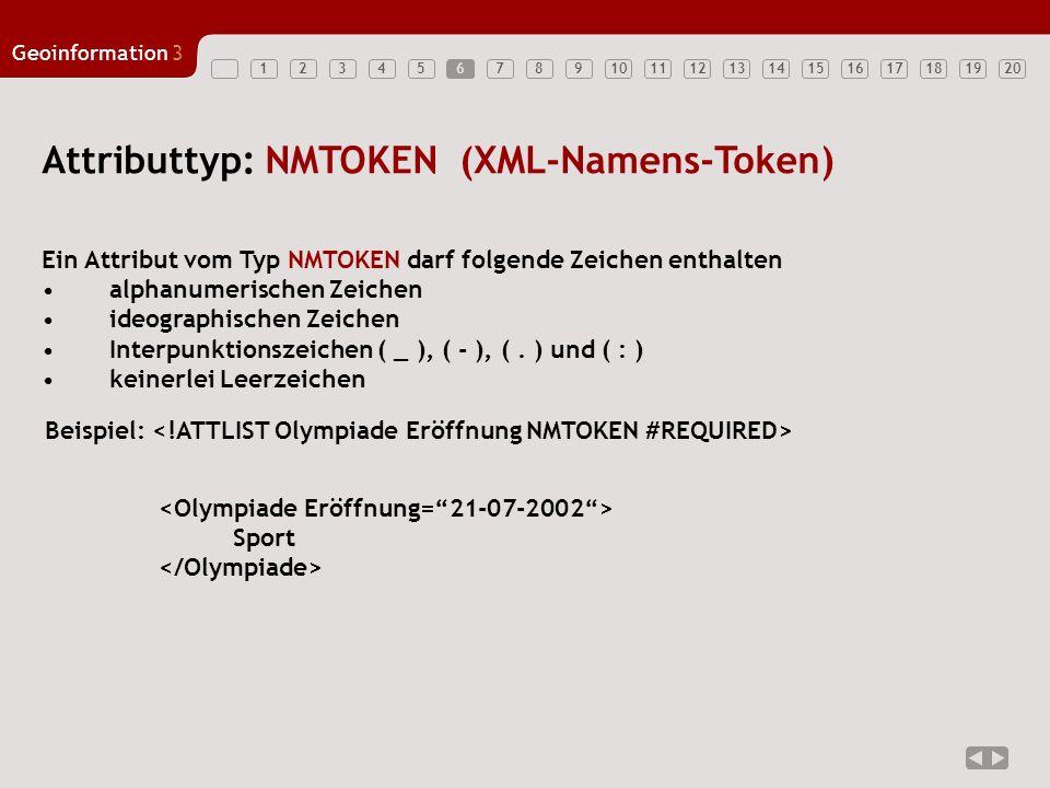 12347891011121314151617181920 Geoinformation3 567 Attributtyp: NMTOKENS Ein Attribut vom Typ NMTOKENS enthalten: Ein oder mehrere NMTOKEN, welche durch Leerzeichen getrennt sind Beispiel: Die Fantastischen Vier