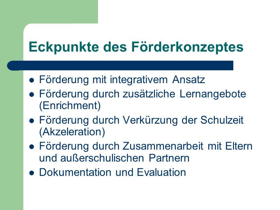 Eckpunkte des Förderkonzeptes Förderung mit integrativem Ansatz Förderung durch zusätzliche Lernangebote (Enrichment) Förderung durch Verkürzung der S