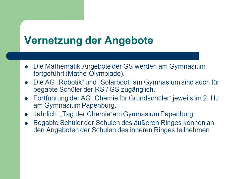 Vernetzung der Angebote Die Mathematik-Angebote der GS werden am Gymnasium fortgeführt (Mathe-Olympiade). Die AG Robotik und Solarboot am Gymnasium si