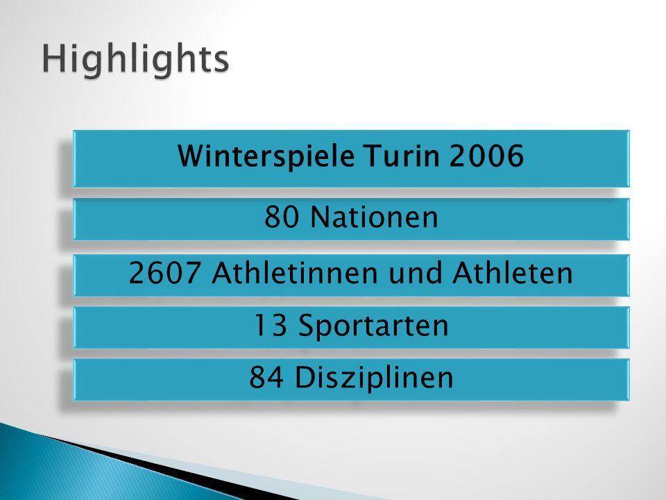 Medaillenspiegel Winterspiele Turin 2006 GoldSilberBronze Deutschland11126 Österreich977 Schweiz535 Italien506 Frankreich324