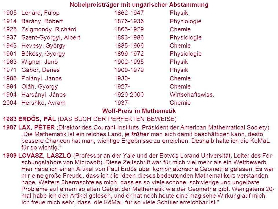 Nobelpreisträger mit ungarischer Abstammung 1905Lénárd, Fülöp1862-1947Physik 1914Bárány, Róbert1876-1936Phyziologie 1925Zsigmondy, Richárd1865-1929Chemie 1937Szent-Györgyi, Albert1893-1986Physiologie 1943Hevesy, György1885-1966Chemie 1961Békésy, György1899-1972Physiologie 1963Wigner, Jenő1902-1995Physik 1971Gábor, Dénes1900-1979Physik 1986Polányi, János1930-Chemie 1994Oláh, György1927-Chemie 1994Harsányi, János1920-2000Wirtschaftswiss.