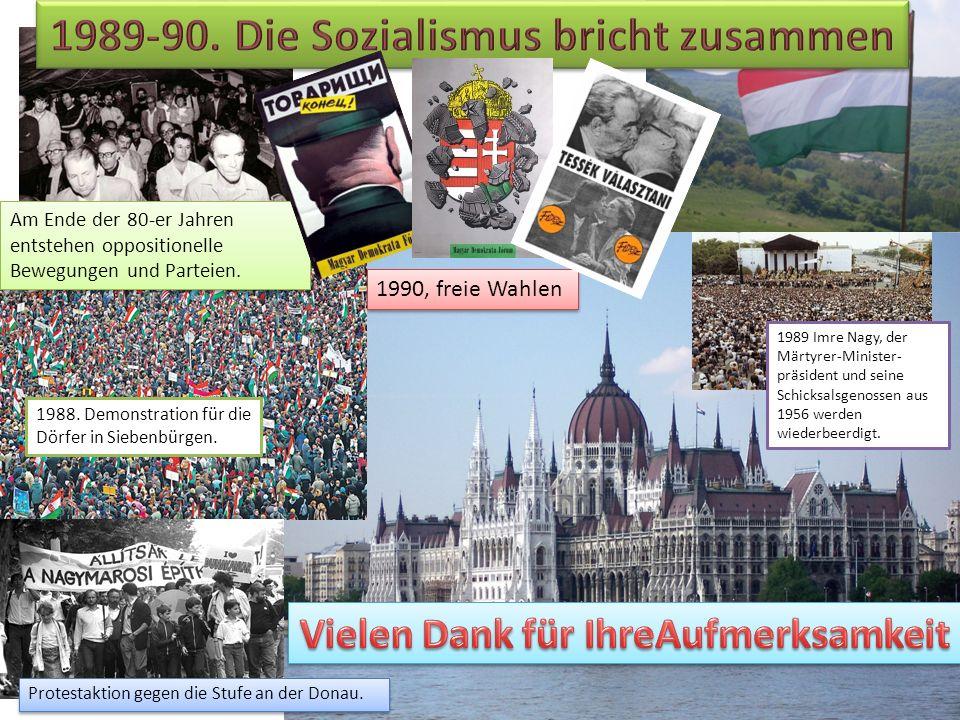 Am Ende der 80-er Jahren entstehen oppositionelle Bewegungen und Parteien. 1988. Demonstration für die Dörfer in Siebenbürgen. Protestaktion gegen die