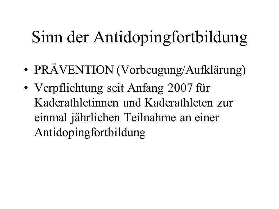 Die Dopingkontrolle Theoretisch Dopingkontrollen für D und C- Kaderathleten auch außerhalb des Wettkampfbereiches möglich Praktisch Kontrollen bei Wettkämpfen (insbes.