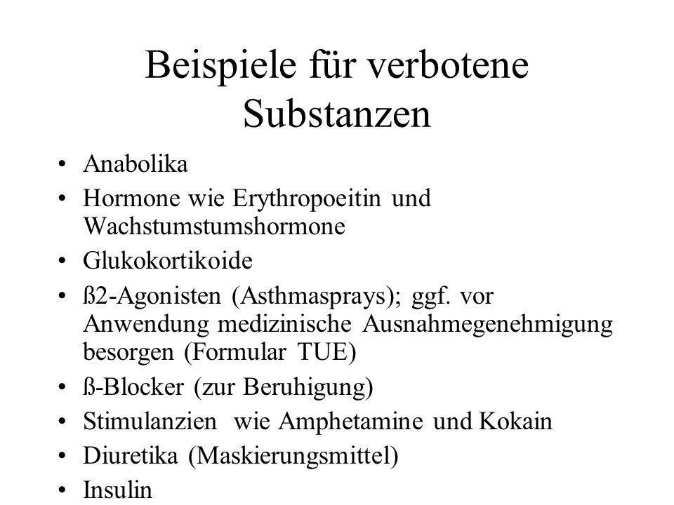 Kontaktadressen NADA (Nationale Antidopingagentur); www.nada-bonn.de; Tel.