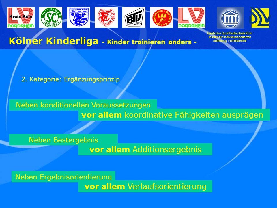 Deutsche Sporthochschule Köln Institut für Individualsportarten Abteilung: Leichtathletik Kölner Kinderliga - Kinder trainieren anders - 2.