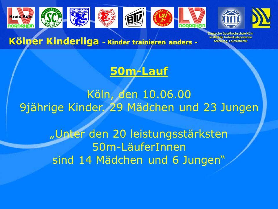 Deutsche Sporthochschule Köln Institut für Individualsportarten Abteilung: Leichtathletik Kölner Kinderliga - Kinder trainieren anders - 50m-Lauf Köln, den 10.06.00 9jährige Kinder.