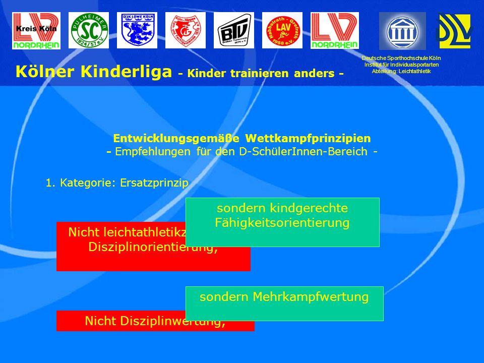 Deutsche Sporthochschule Köln Institut für Individualsportarten Abteilung: Leichtathletik Kölner Kinderliga - Kinder trainieren anders - Nicht Einzelwertung, sondern Mannschaftswertung Nicht getrennt- geschlechtlich, sondern gemischt- geschlechtlich