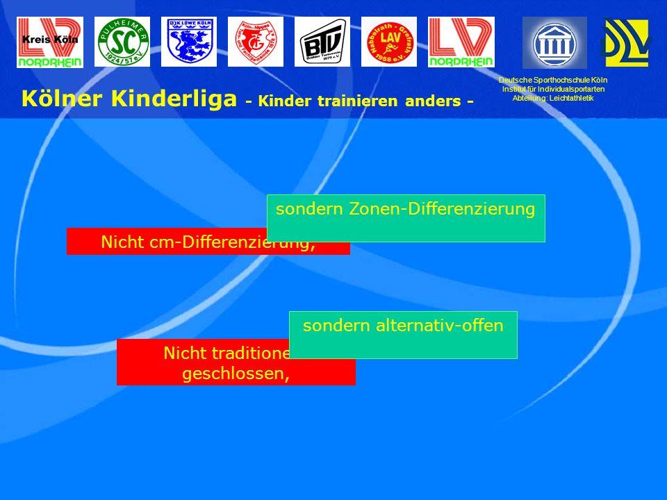 Deutsche Sporthochschule Köln Institut für Individualsportarten Abteilung: Leichtathletik Kölner Kinderliga - Kinder trainieren anders - Nicht cm-Differenzierung, sondern Zonen-Differenzierung Nicht traditionell- geschlossen, sondern alternativ-offen