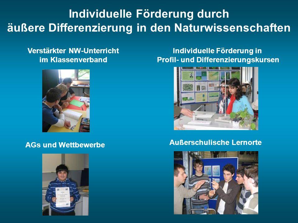 Individuelle Förderung durch äußere Differenzierung in den Naturwissenschaften Verstärkter NW-Unterricht im Klassenverband Außerschulische Lernorte AG