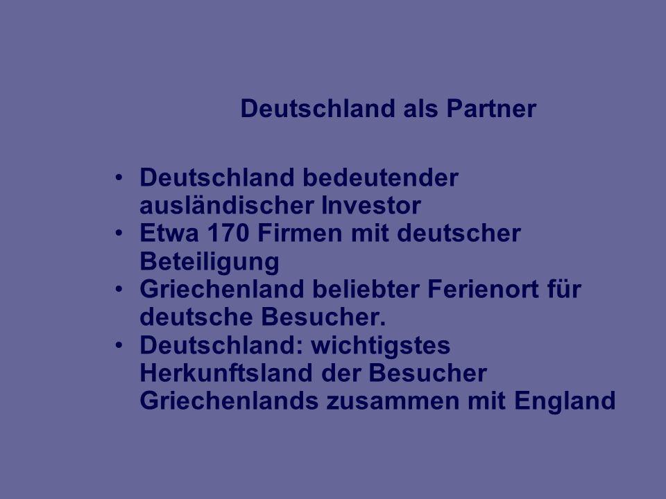 Der Handel mit Deutschland Deutschland traditionell wichtigster Wirtschaftspartner Der gegenseitige Warenaustausch erreichte 2005 8,1 MRD * (+4.5%) *Quelle: Statistisches Bundesamt Weitere Steigerung in 2006 wahrscheinlich