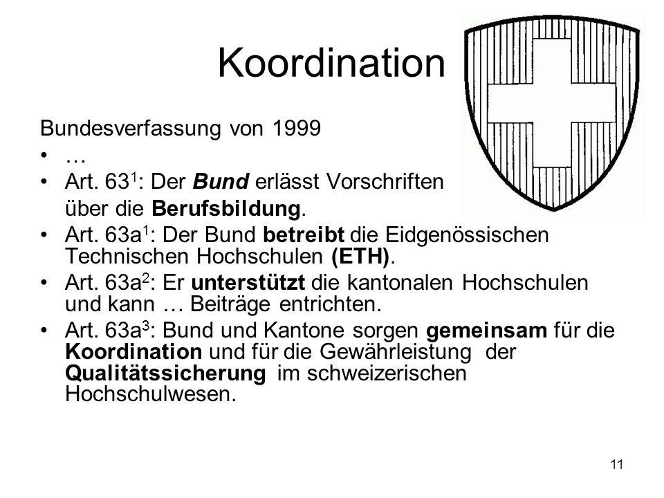 Koordination Bundesverfassung von 1999 … Art. 63 1 : Der Bund erlässt Vorschriften über die Berufsbildung. Art. 63a 1 : Der Bund betreibt die Eidgenös