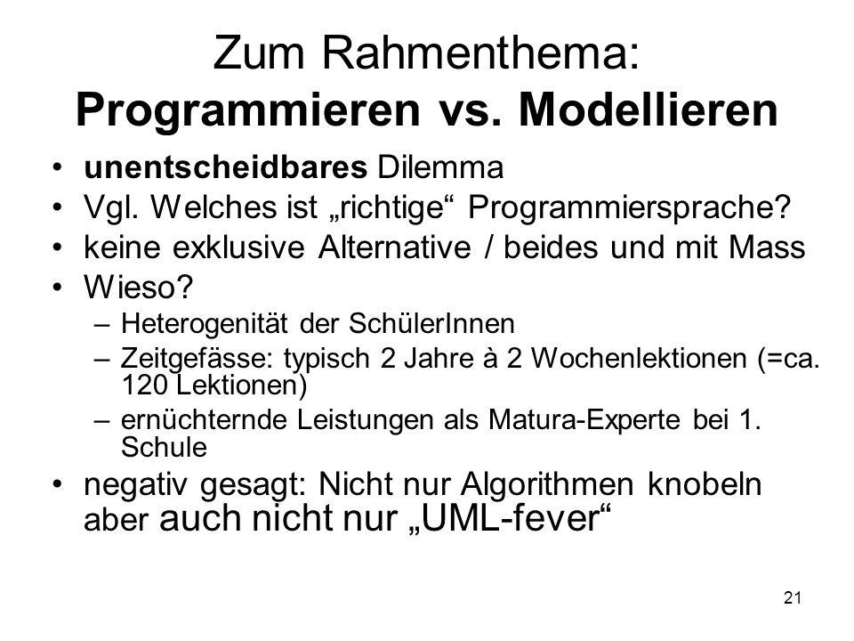 Zum Rahmenthema: Programmieren vs. Modellieren unentscheidbares Dilemma Vgl. Welches ist richtige Programmiersprache? keine exklusive Alternative / be