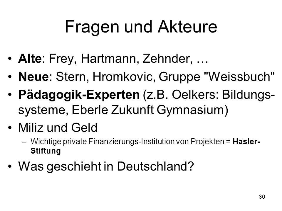 Fragen und Akteure Alte: Frey, Hartmann, Zehnder, … Neue: Stern, Hromkovic, Gruppe Weissbuch Pädagogik-Experten (z.B.