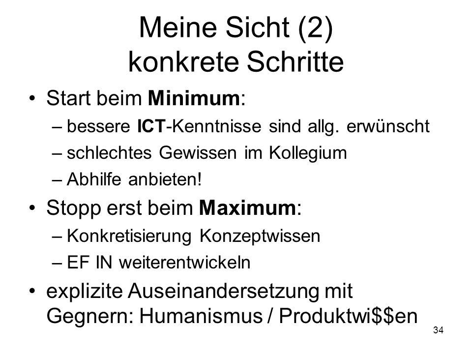 Meine Sicht (2) konkrete Schritte Start beim Minimum: –bessere ICT-Kenntnisse sind allg. erwünscht –schlechtes Gewissen im Kollegium –Abhilfe anbieten