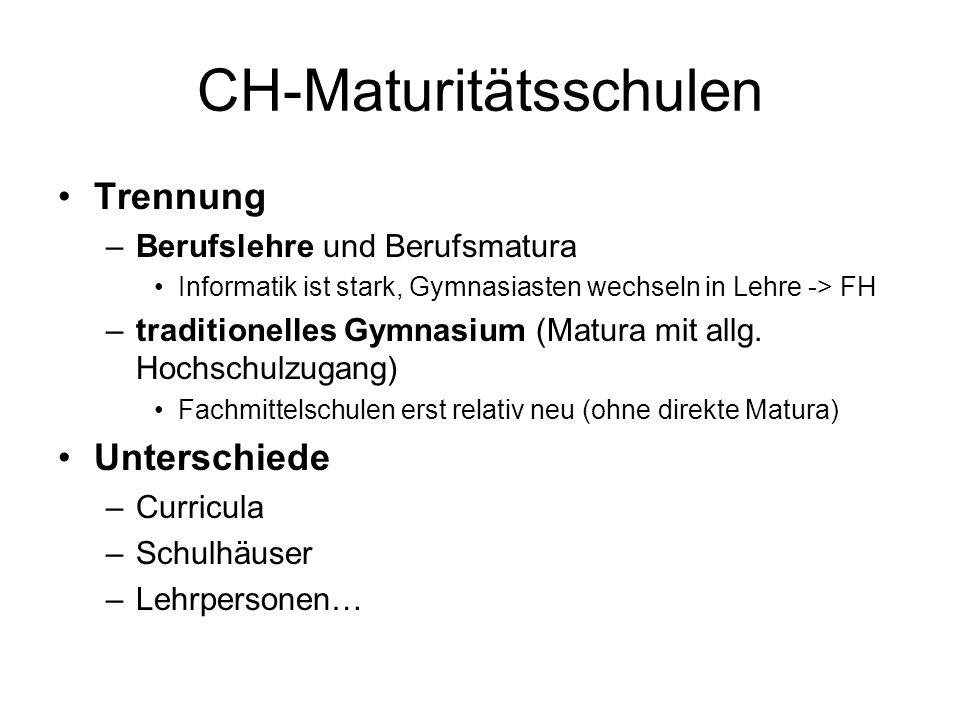 CH-Maturitätsschulen Trennung –Berufslehre und Berufsmatura Informatik ist stark, Gymnasiasten wechseln in Lehre -> FH –traditionelles Gymnasium (Matura mit allg.